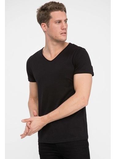 DeFacto Slim Fit V Yaka T-shirt Siyah